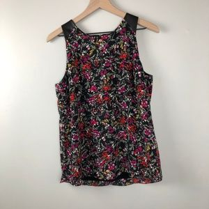 Banana Republic Floral tank with Faux Leather